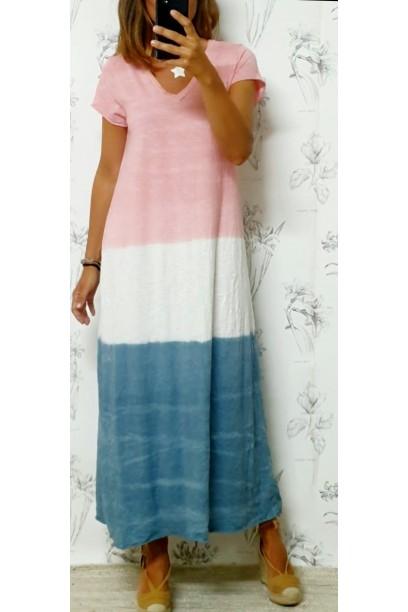 Vestido largo tres colores rosa y azul jeans