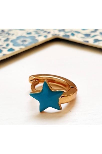 Pendiente aro con estrella turquesa