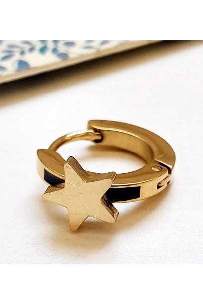 Pendiente aro con estrella dorada