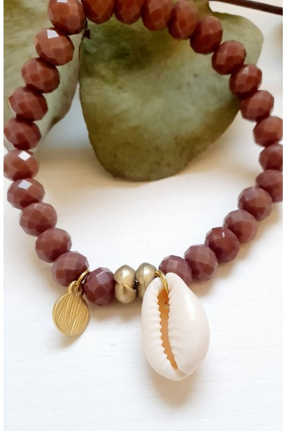 Pulsera ajustable con piedras y conchas rosa