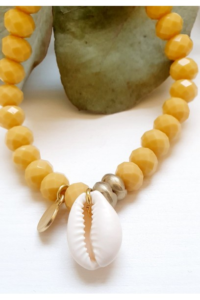 Pulsera ajustable con piedras y conchas amarilla