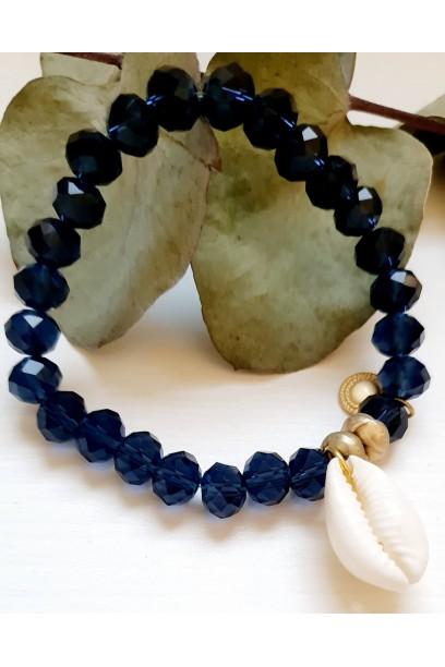 Pulsera ajustable con piedras y conchas azul marino
