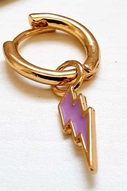 Pendiente aro dorado con rayo lila