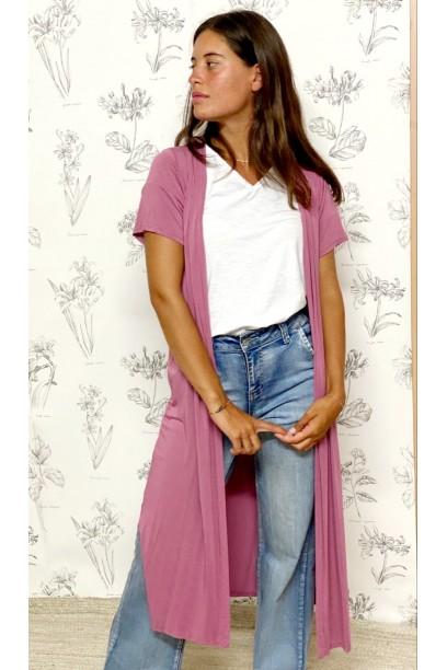 Chaqueta larga de manga corta rosa antiguo
