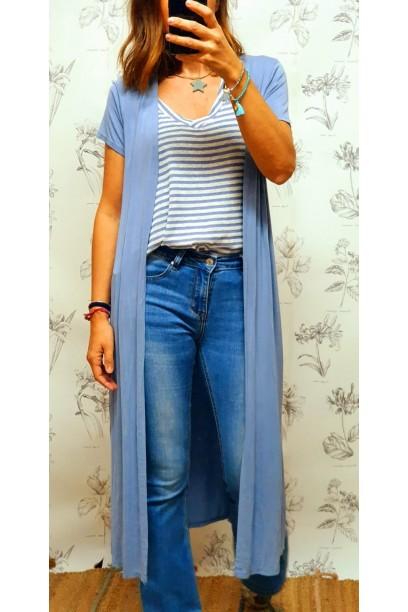 Chaqueta larga de manga corta azul