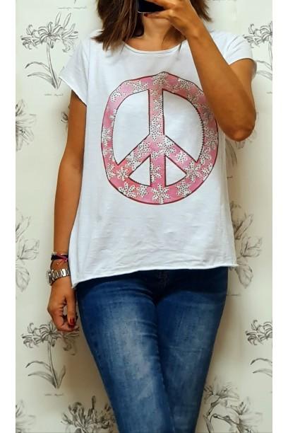 Camiseta con símbolo de la paz rosa