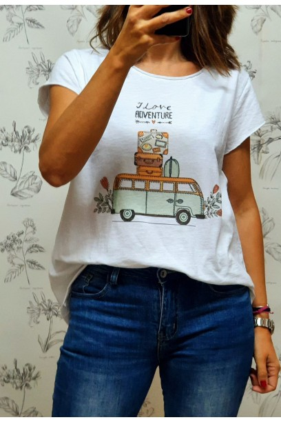 Camiseta con dibujo travel