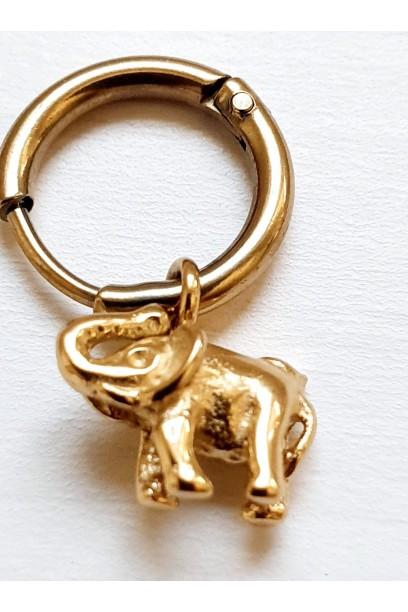 Pendiente elefante dorado