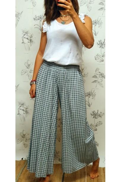 Pantalón de cuadro vichy con goma ancha en la cintura gris