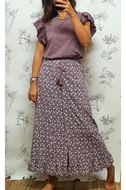 Falda larga estampada con botones lila