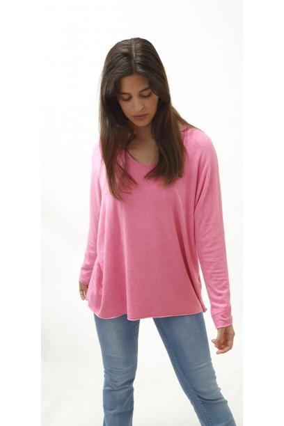 Jersey de mujer punto oversize cuello pico rosa chicle