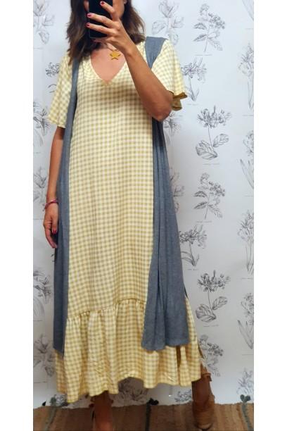 Vestido largo cuadro vichy mostaza