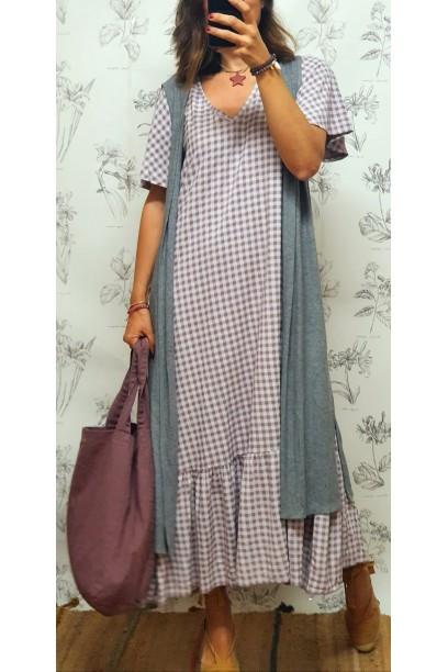 Vestido largo cuadro vichy lila