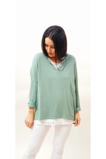 Camiseta punto fino doble de punto verde