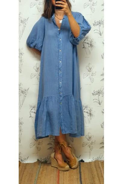Vestido largo camisero con volantes azul