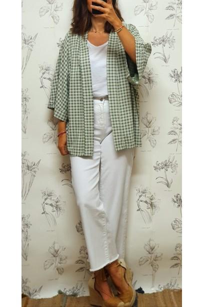 Kimono tela con estampado vichy verde salvia