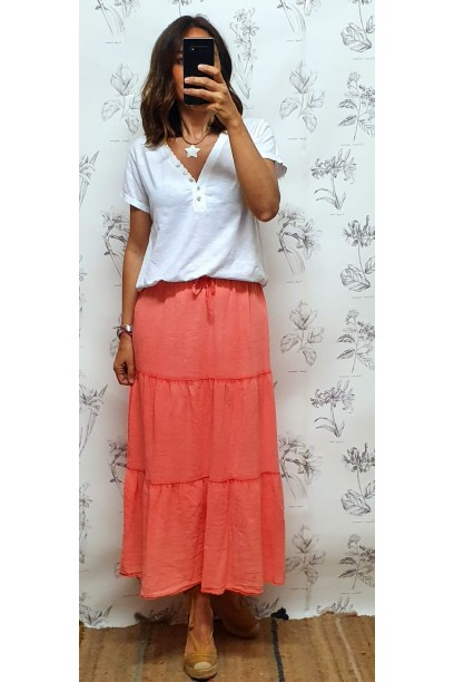 Falda larga de algodón con cortes coral