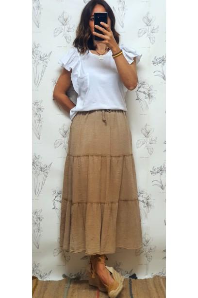 Falda larga de algodón con cortes  camel