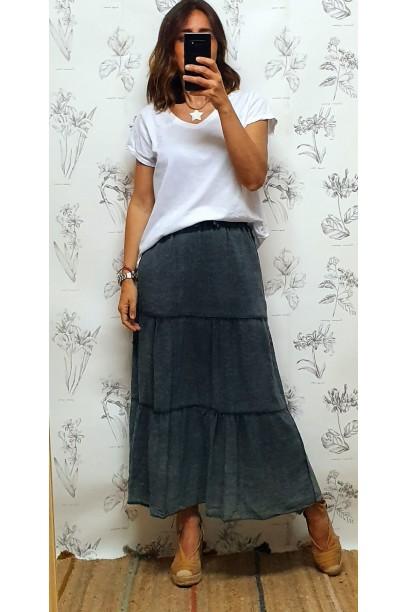 Falda larga de algodón con cortes gris marengo