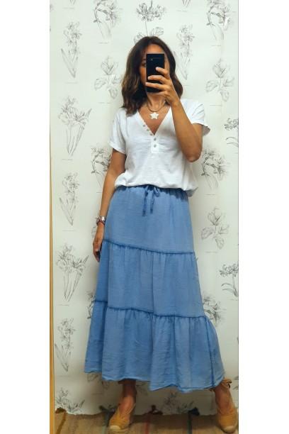 Falda larga de algodón con cortes azul jean