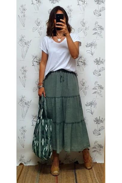 Falda larga de algodón con cortes verde militar