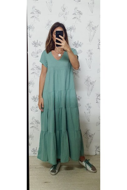Vestido oversize de algodón largo con corte verde antiguo