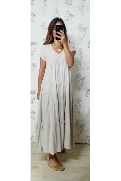 Vestido oversize de algodón largo con corte beiges