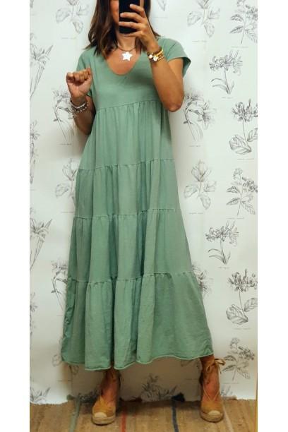 Vestido oversize de algodón largo con corte verde salvia