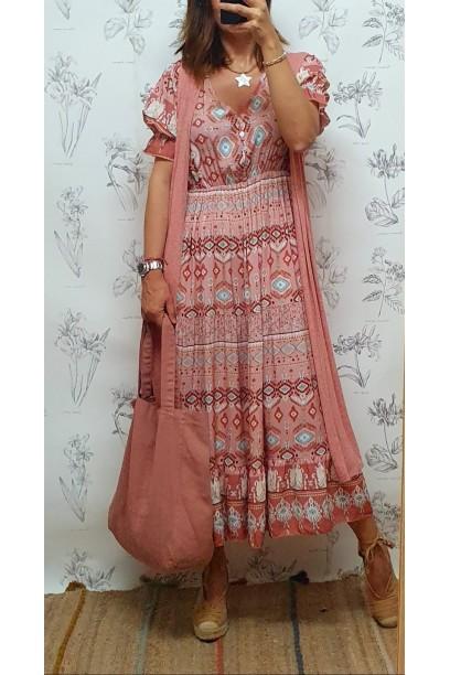Vestido estampado con goma debajo dek pecho rosa