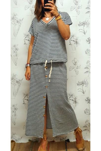 falda de rayas con botones y goma en la cintura negro