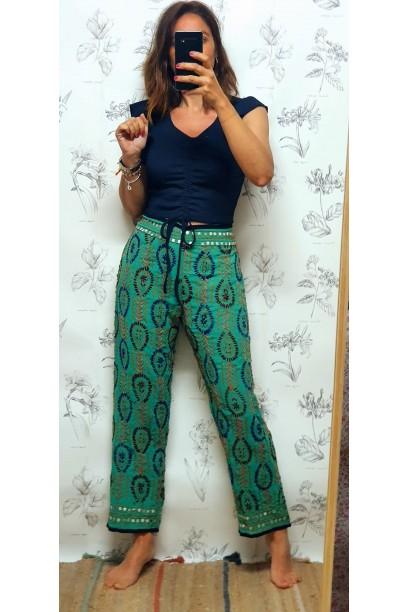 Pantalones de telas indias verde
