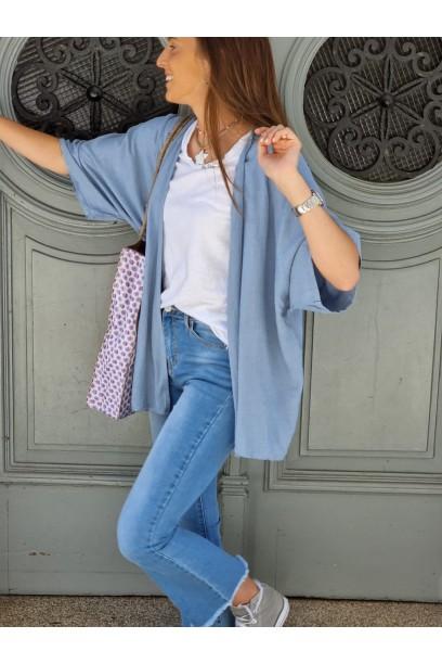 Kimono de lino color azul