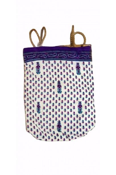 Bolso telas indias y yute blanco y azul