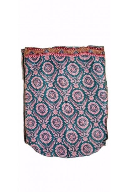 Bolso telas indias y yute rosa