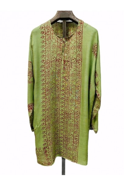 Kurta de mujer con tela India verde pistacho