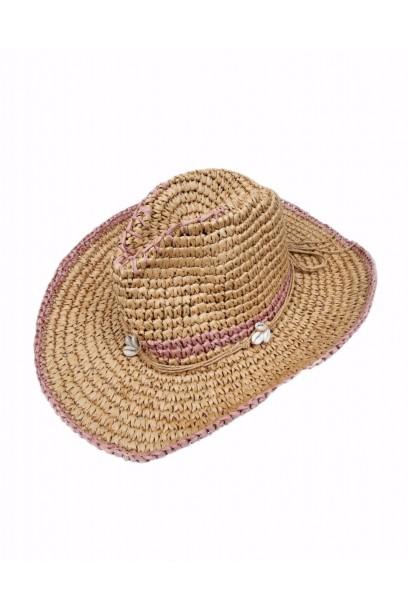 Sombrero de playa conchas rematado en rosa