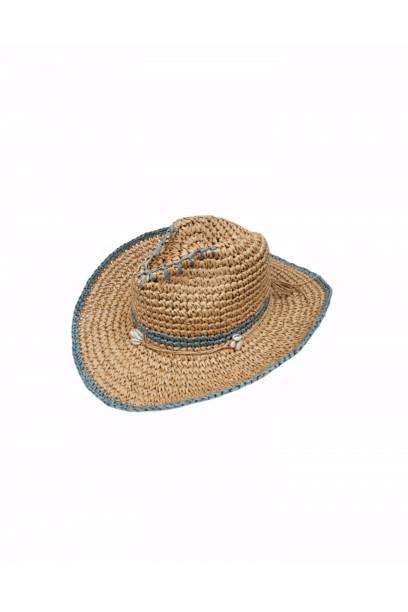 Sombrero de playa conchas rematado en gris