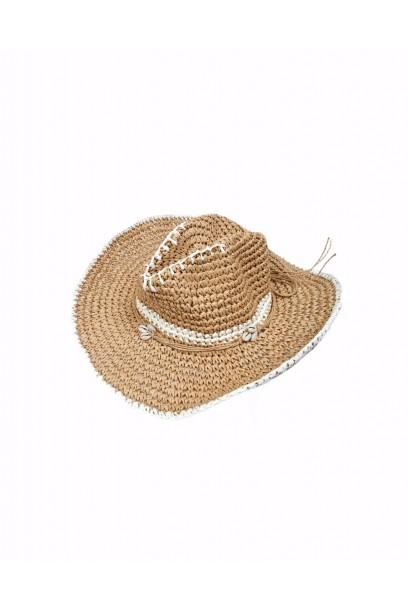 Sombrero de playa conchas rematado en blanco