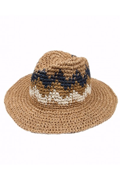 Sombrero de playa combinado natural, azul y blanco