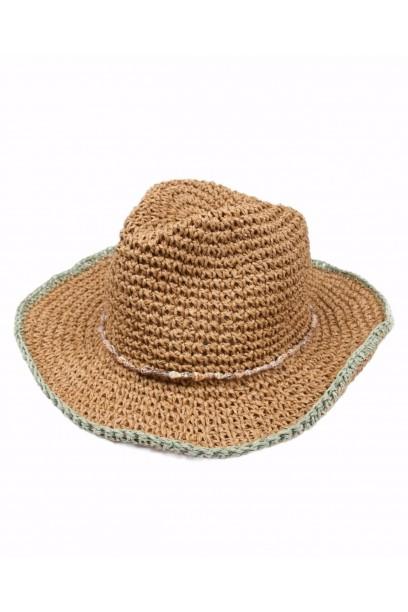 Sombrero de playa conchas rematado en verde