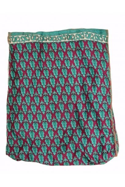 Bolso telas indias y yute verde