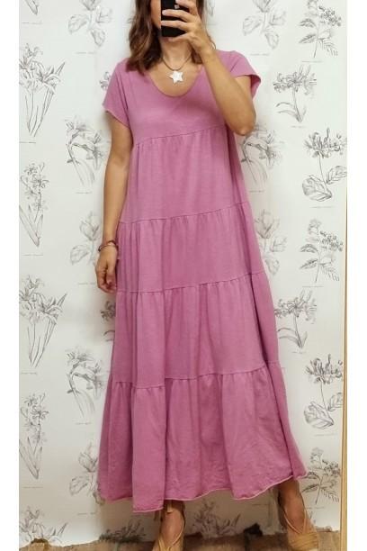 Vestido oversize  de algodón largo con cortes rosa antiguo