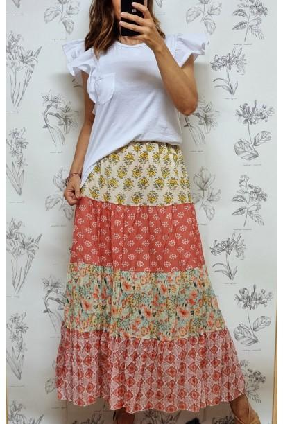 Falda larga estampada patchwork