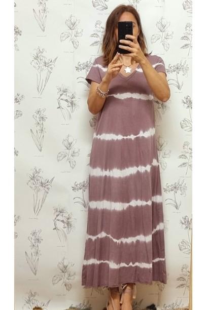Vestido de mujer algodón largo tie dye LILA