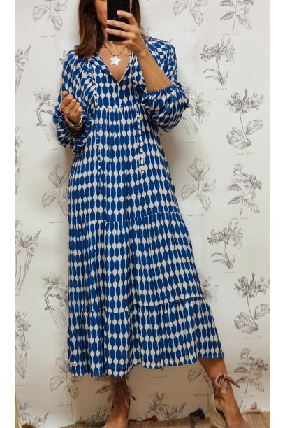 vestido dibujo geométrico azul