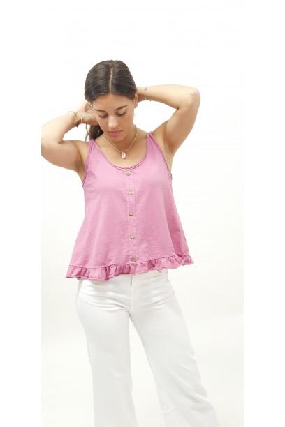 Camiseta de tirantes con volantes rosa