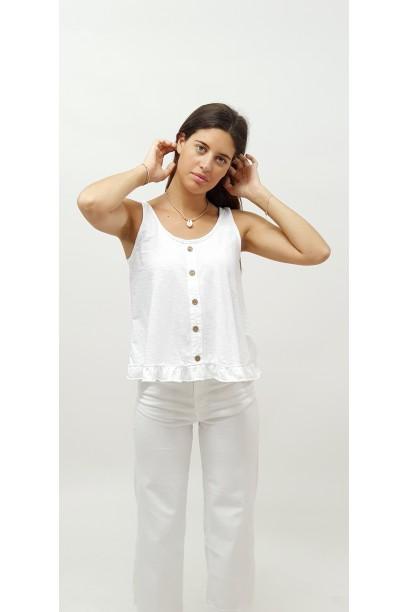 Camiseta de tirantes con volantes blanca