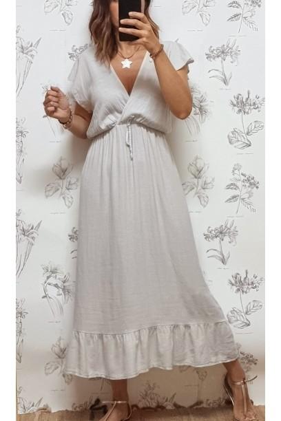 Vestido de mujer largo  cruzado en el pecho beige