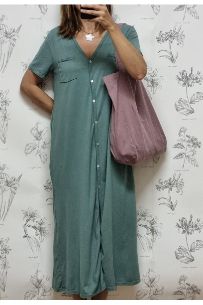 Vestido de algodón tipo camisero verde