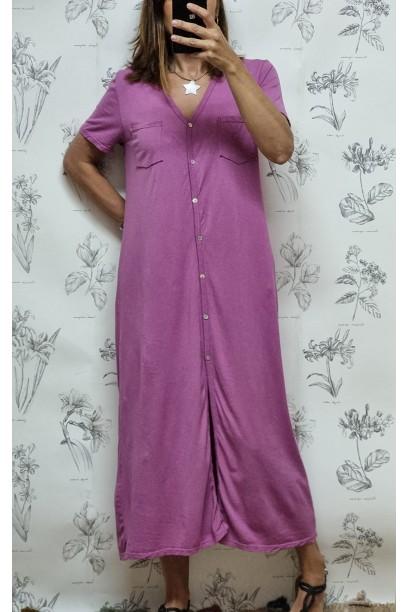 Vestido de algodón tipo camisero buganvilla
